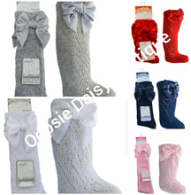 Load image into Gallery viewer, Girls Pelerine Knee High Socks With Ribbons 0-6 Years