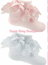 Load image into Gallery viewer, Baby Girls Frilly Ribbon & Lace Ankle Socks 0-12mth
