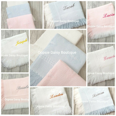 Personalised Baby Shawl Blanket - Star Design - Oopsie Daisy Baby Boutique