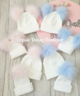 Baby Knitted Hats Boys Girls Pom Pom Hats