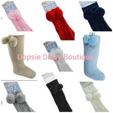 Load image into Gallery viewer, Knee High Pom Pom Socks x 10 Colours ☆ Romany Spanish Style - Oopsie Daisy Baby Boutique