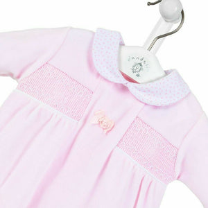 Pink Velour Smocked Satin Flower Romper Sleepsuit - Dandelion