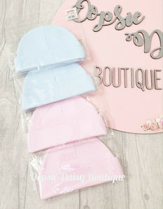 Baby Soft Cotton Pink Blue Hats x 2 pack