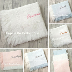 Personalised Baby Shawl Blanket - Diamond Design - Oopsie Daisy Baby Boutique