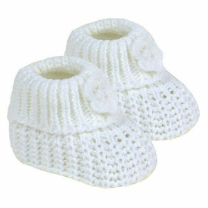 Baby Knitted Flower Booties