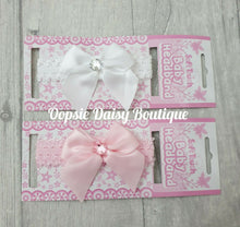 Load image into Gallery viewer, Baby Girls Ribbon & Lace Headbands - Oopsie Daisy Baby Boutique
