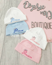 Load image into Gallery viewer, Prince & Princess Embroidered Cotton Hats - One supplied