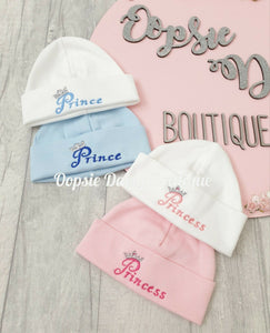 Prince & Princess Embroidered Cotton Hats - One supplied