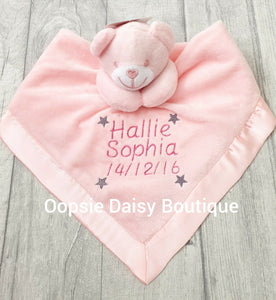 Personalised Baby Comforter Teddy Bear Design - Oopsie Daisy Baby Boutique