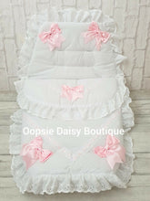 Load image into Gallery viewer, White & Pink Luxury Large Ribbon Foot Muff Cosy Toes