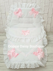 White & Pink Luxury Large Ribbon Foot Muff Cosy Toes