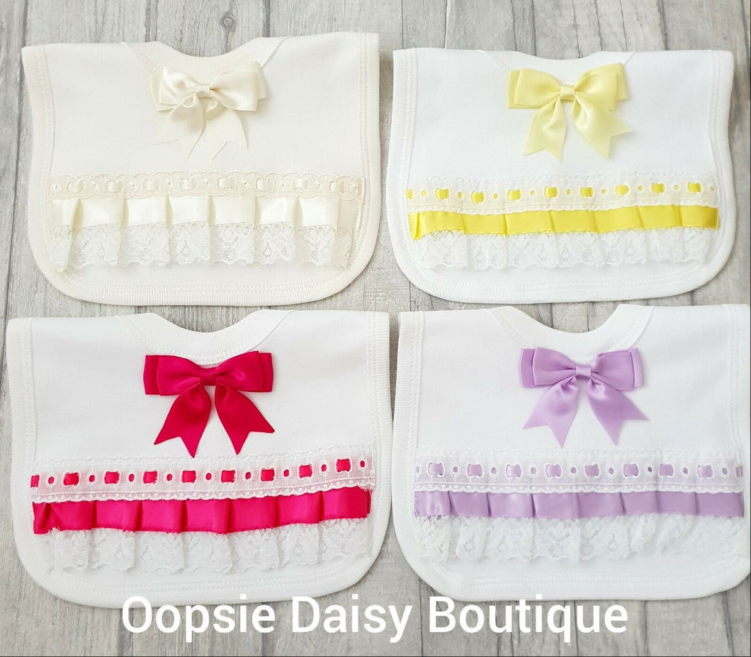 Ribbon Lace & Bows Bibs - Oopsie Daisy Baby Boutique