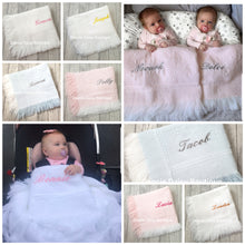Load image into Gallery viewer, Personalised Baby Shawl Blanket - Diamond Design