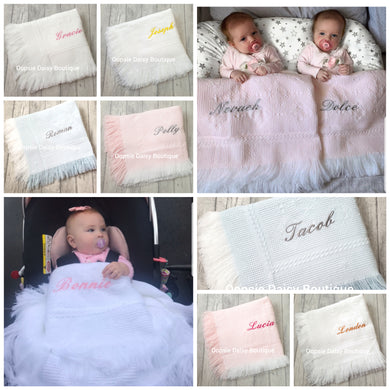 Personalised Baby Shawl Blanket - Diamond Design