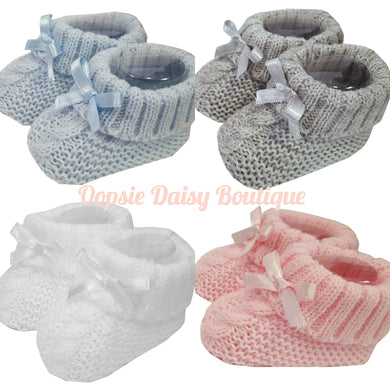 Baby Knitted Ribbon Booties