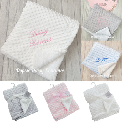 Personalised Deluxe Supersoft Minky Blanket Sherpa Back