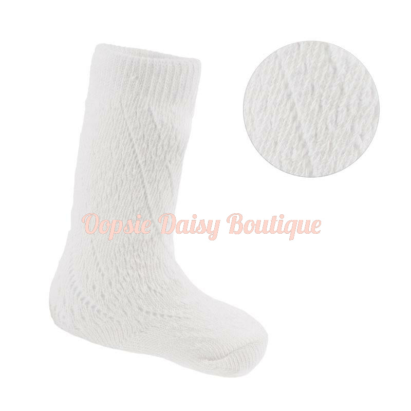 Girls white Pelerine Knee High Socks