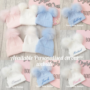 Personalised Hats Girls Boys Lovely Knitted Pom Pom Hats