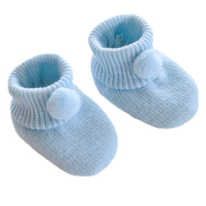 Baby Knitted Pom Pom Booties Blue