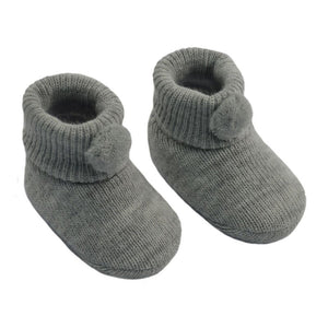 Baby Knitted Pom Pom Booties Grey