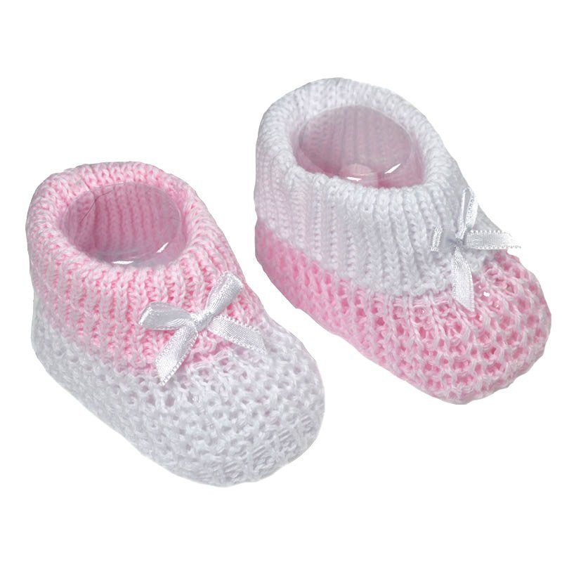 Baby Knitted Ribbon Booties Pink White