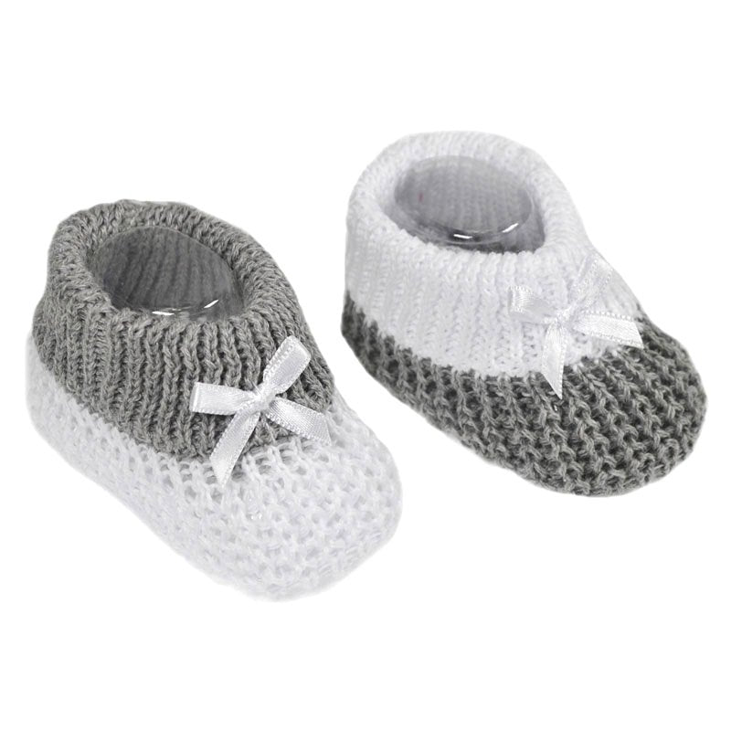 Baby Knitted Ribbon Booties Grey White