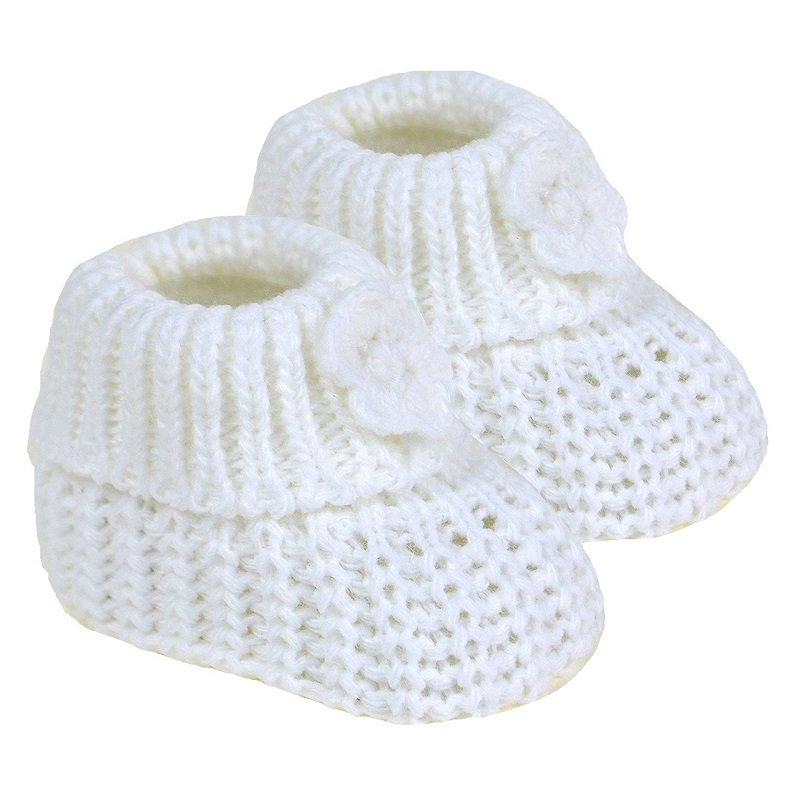 Baby Knitted Flower Booties White