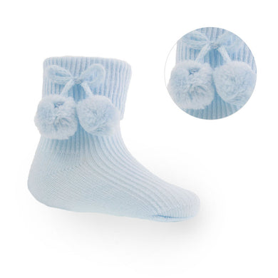 Blue Pom Pom Ankle Socks