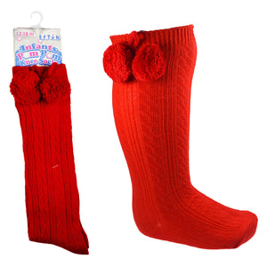 Red Knee High Pom Pom Socks