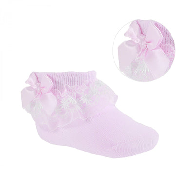 Ribbon & Lace Ankle Socks Pink