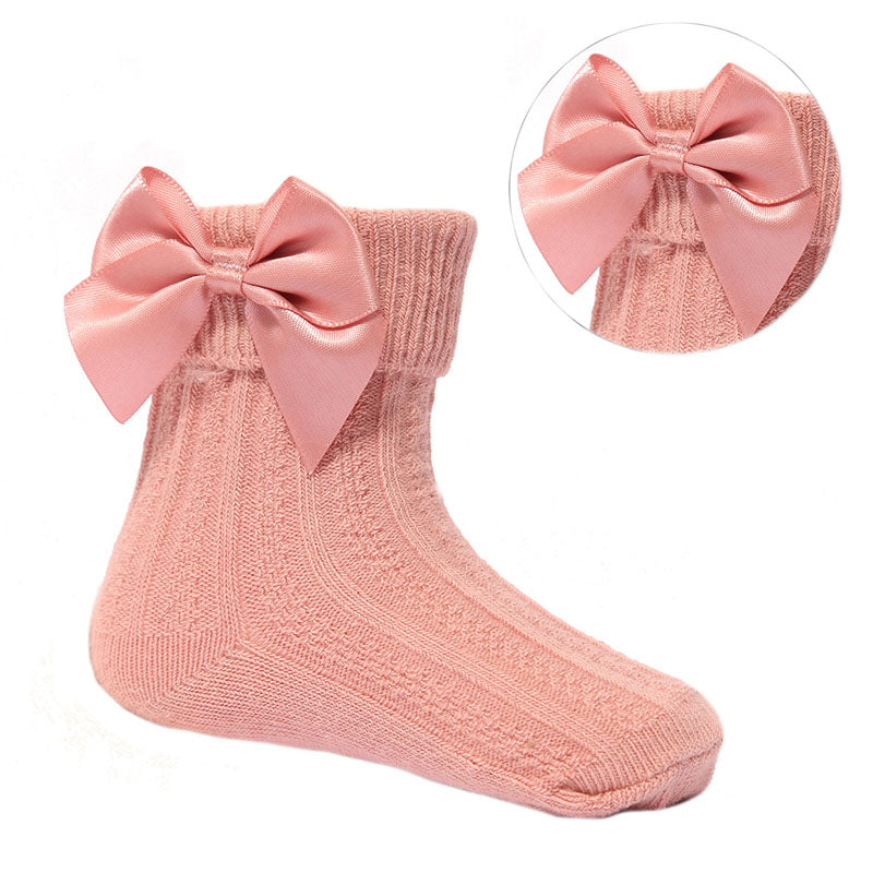 Dusky Pink Ribbon Ankle Socks