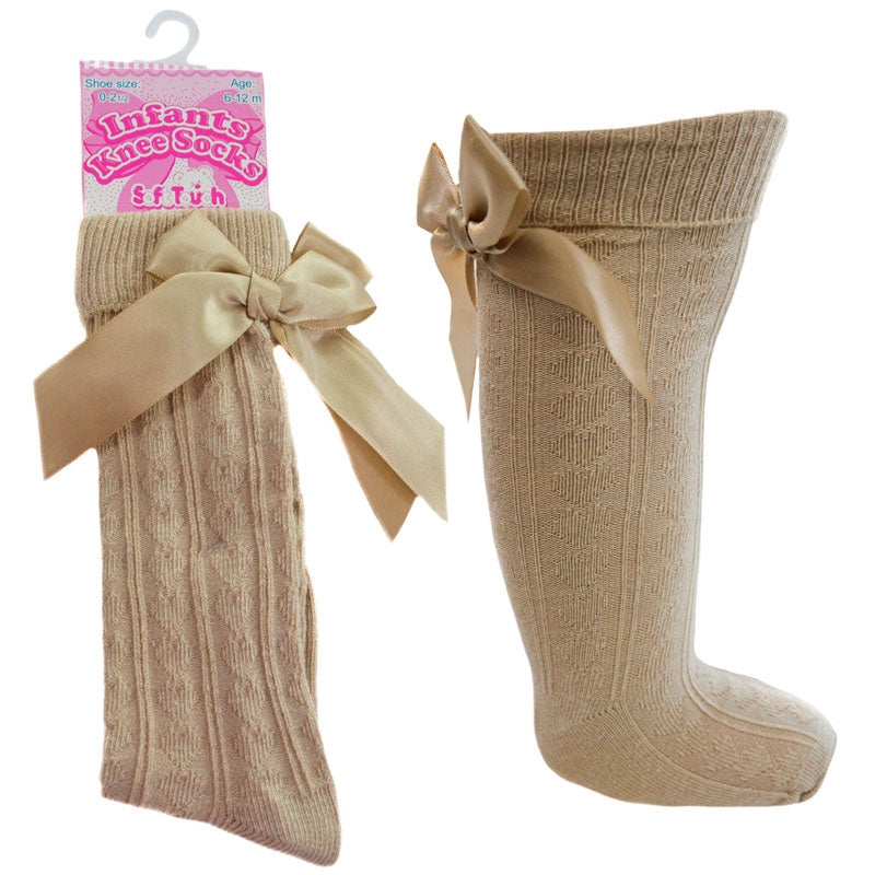 Camel Knee High Ribbon Socks