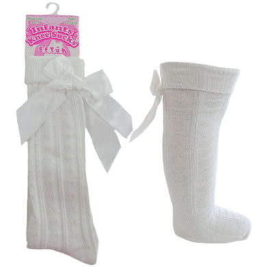 Cream Ivory Knee High Ribbon Socks