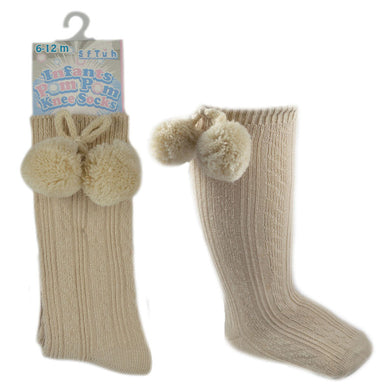 Camel Knee High Pom Pom Socks