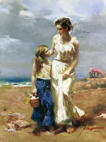 Pino Daeni painting of a Mother and Daughter