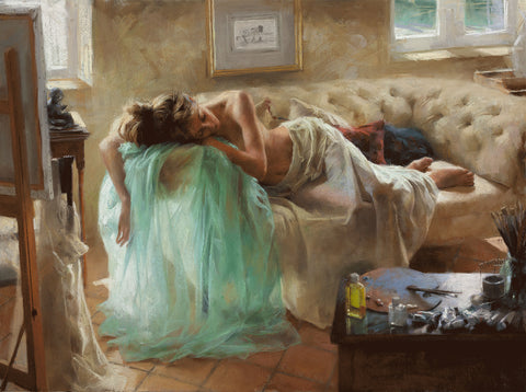 Vicente Romero Pastel Painting titled Rest