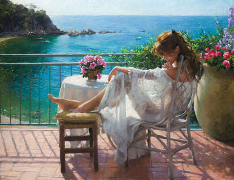 Vicente Romero's Pastel painting of beautiful women and landscape