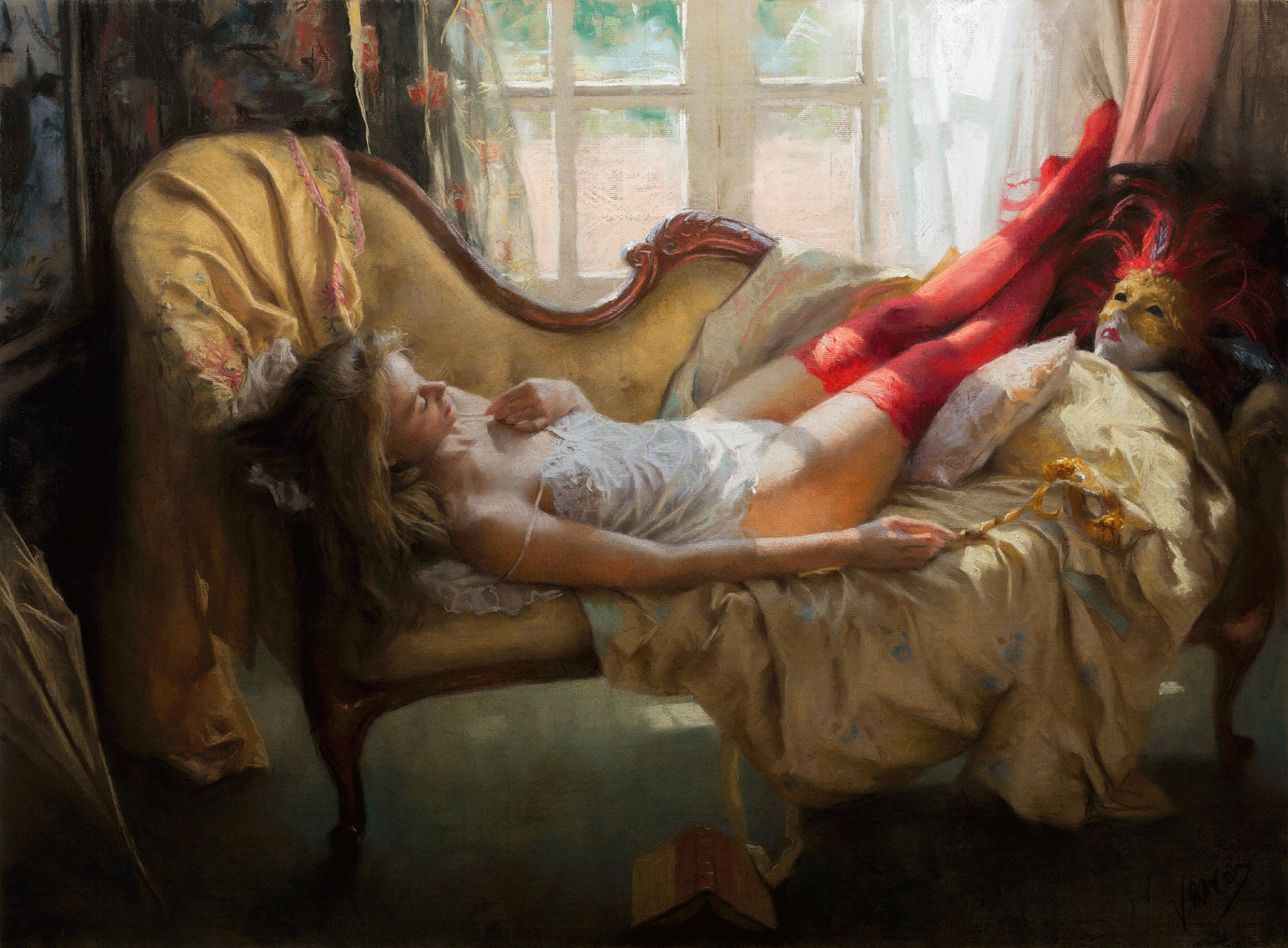 This figurative artwork is a limited edition print of a pastel painting by Vicente Romero.
