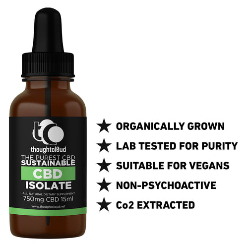 Thoughtcloud Sustainable Isolate CBD (750mg) in coconut oil