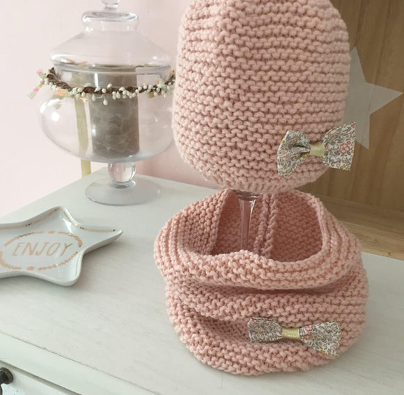 Pack bonnet et snood Enfant en laine rose nude et Liberty Katie and millie Nude