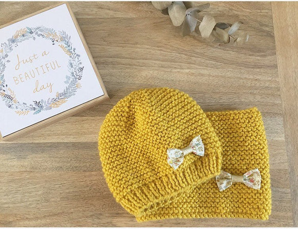 Pack bonnet et snood Enfant en laine moutarde et liberty meadow sweet