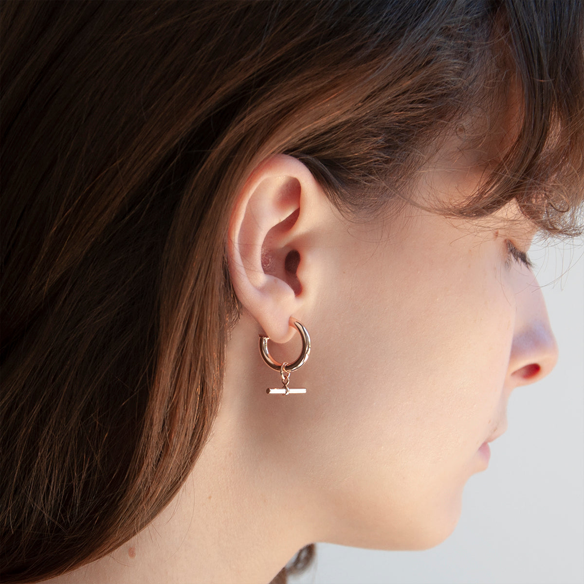 T-bar Hoop Rose Earring