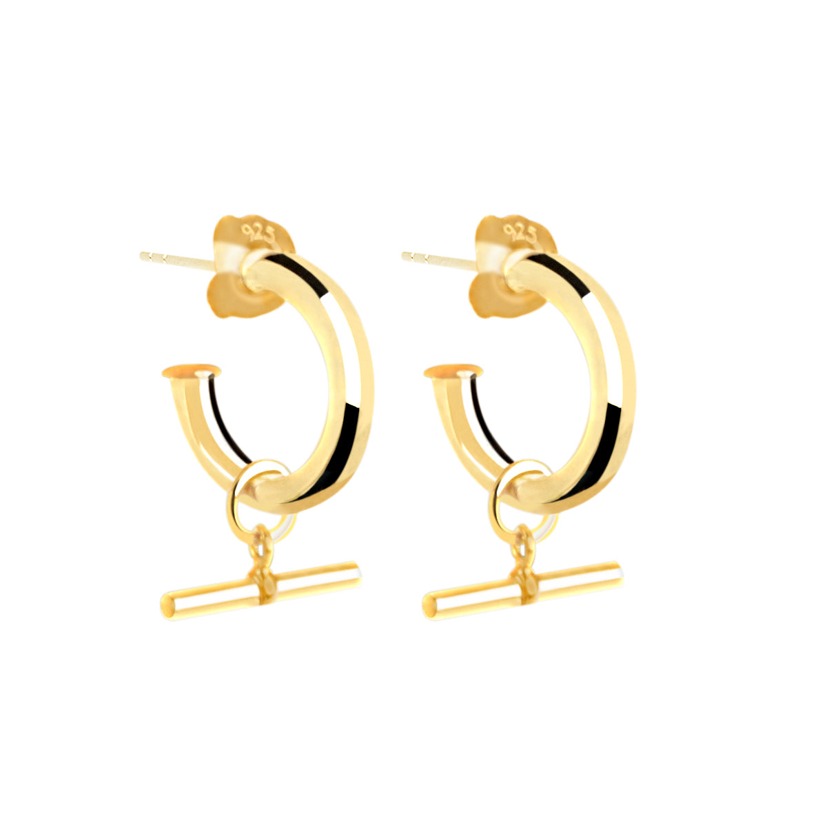 T-bar Hoop Gold Earring