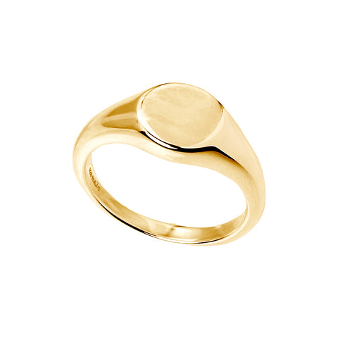14kt gold plate engravable signet ring (sterling silver base)
