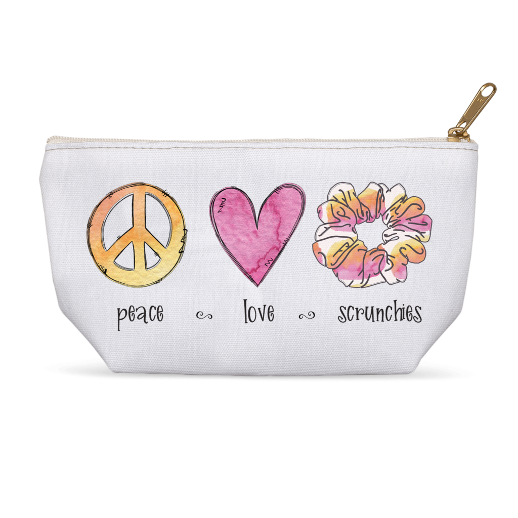 Peace Love Scrunchies Personalized Makeup Bag