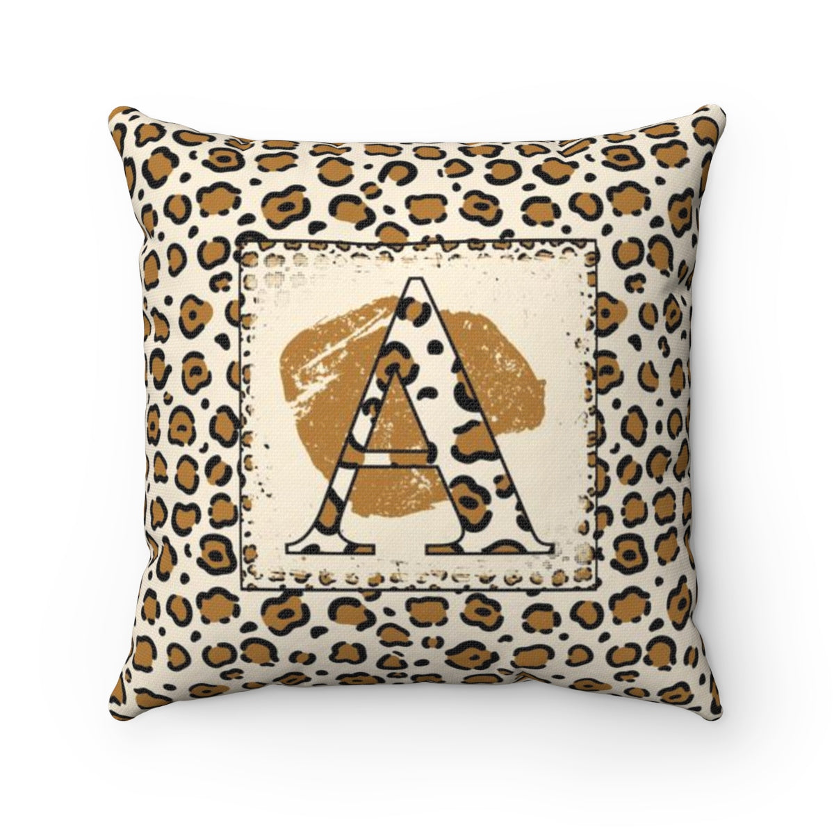 Leopard Monogram Throw Pillow