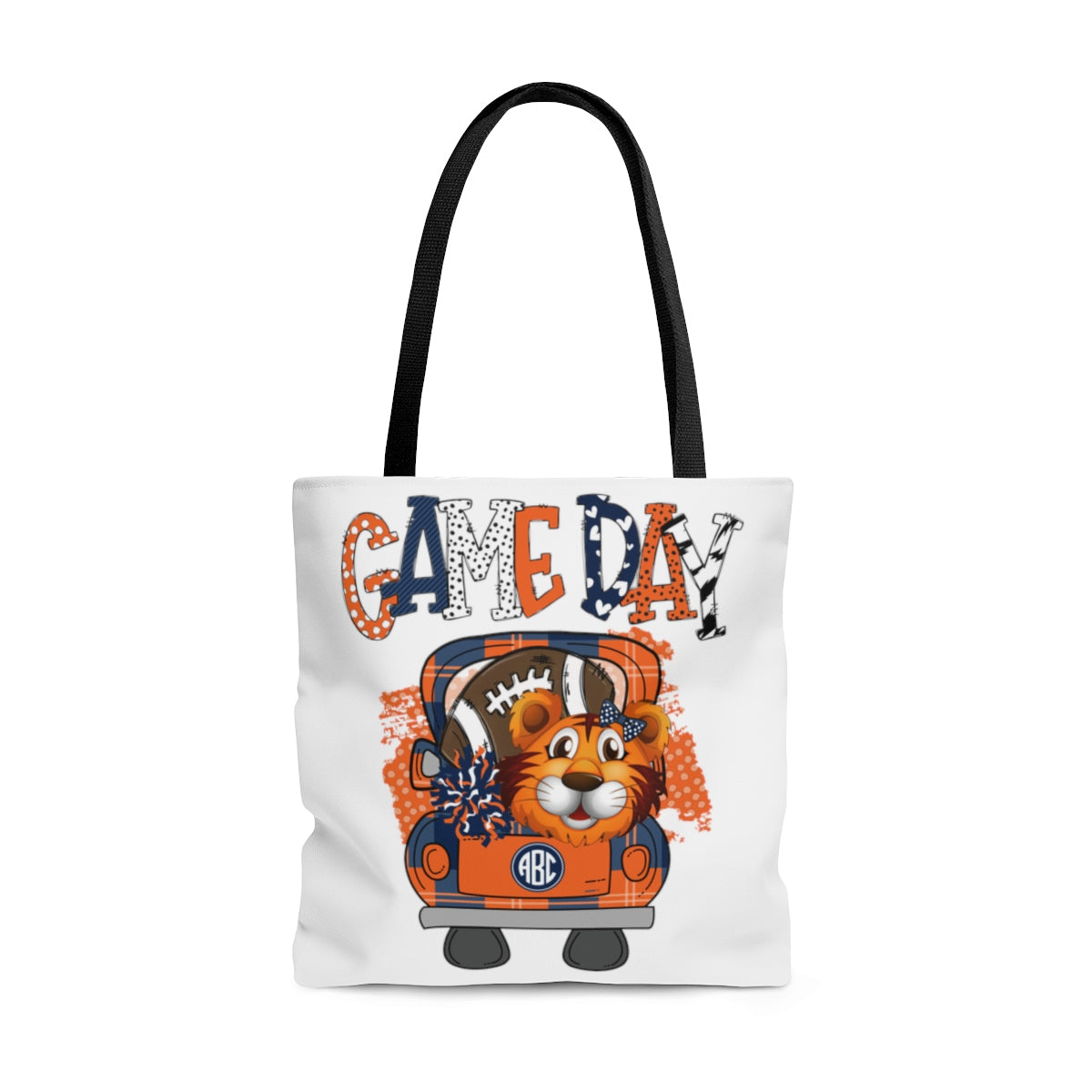 Game Day Tiger Football Monogram Tote