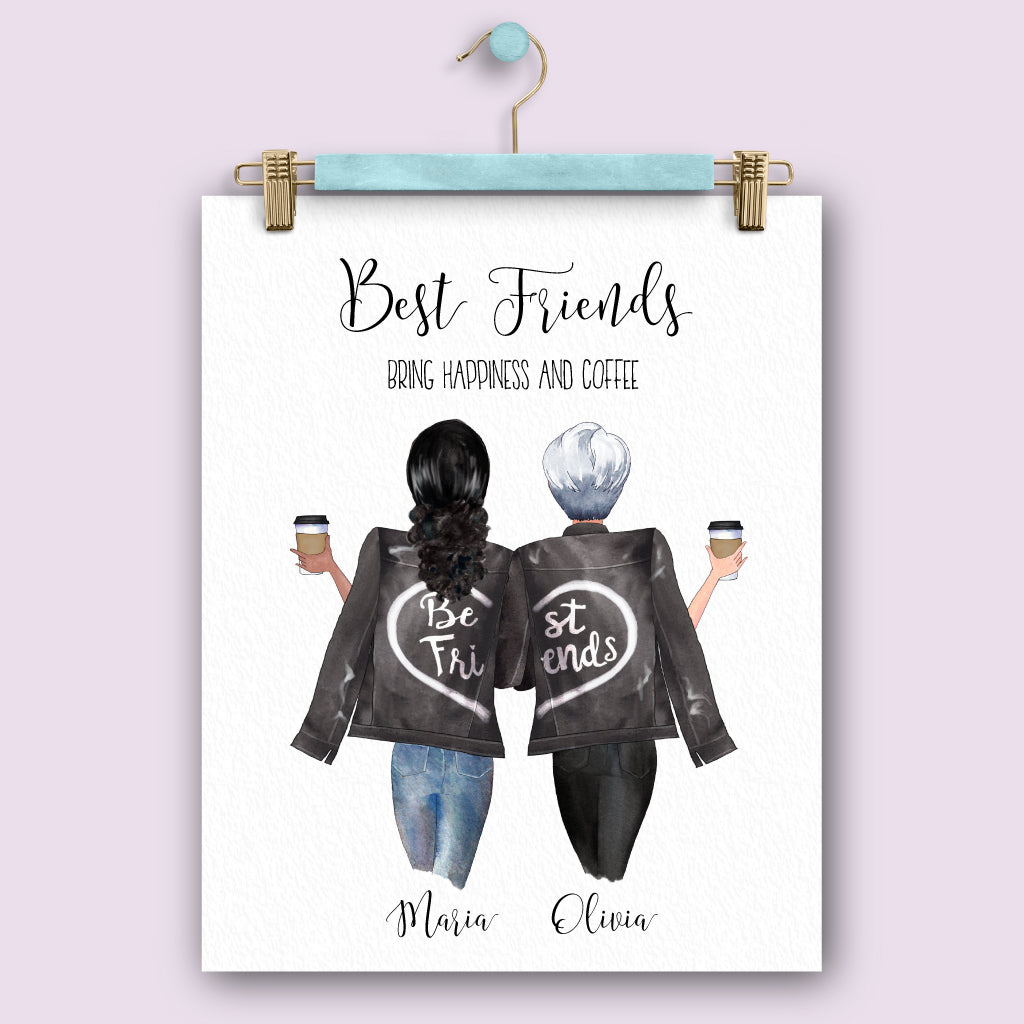 Best Friends Bring Coffee Personalized Friendship Print