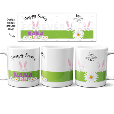 Personalized Easter Bunny Spring Daisy Mug