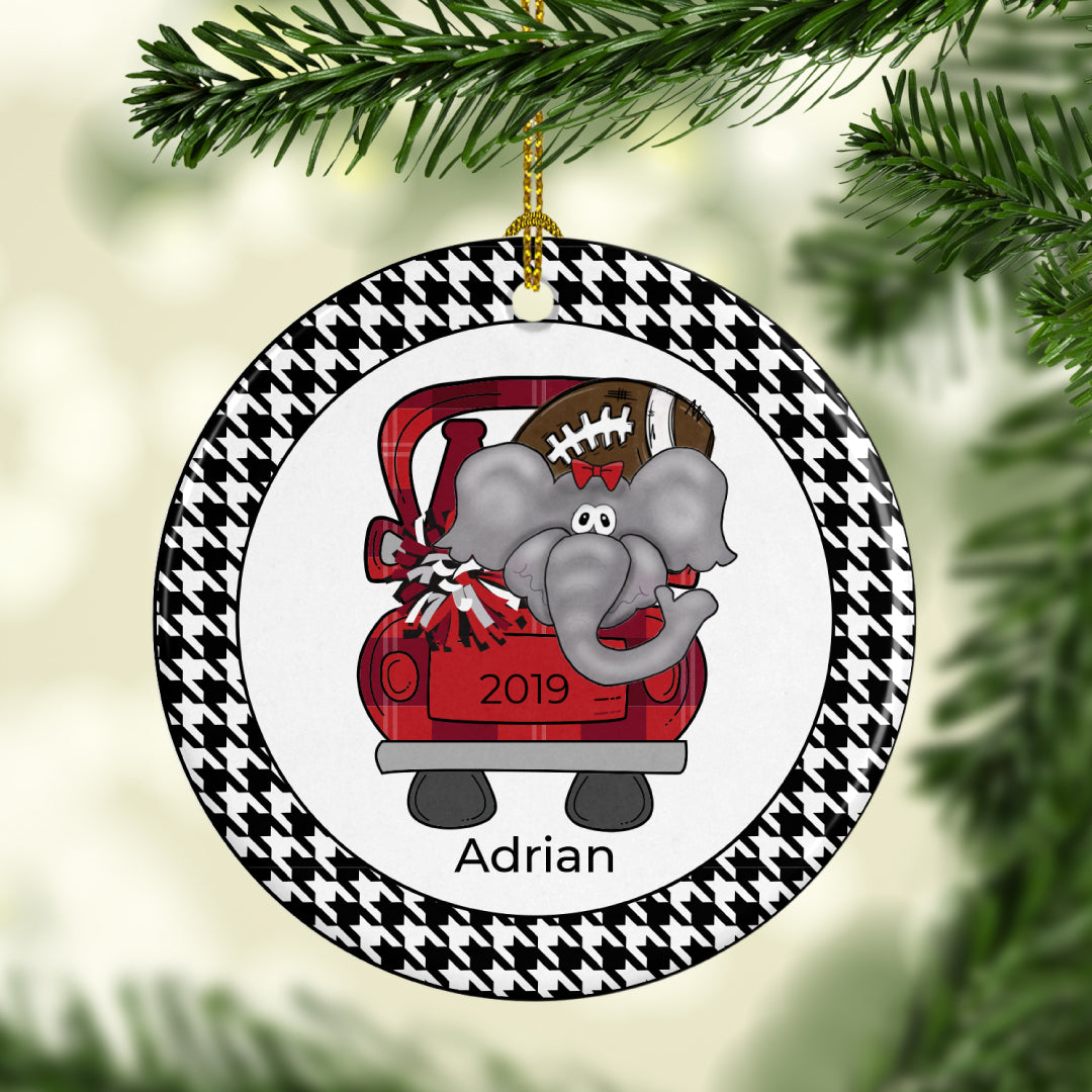 Personalized Elephant Football Ornament